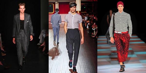 Брюки с завышенной талией, Yves Saint Laurent; брюки с высокой талией, Lanvin; брюки укороченной длины, Emporio Armani