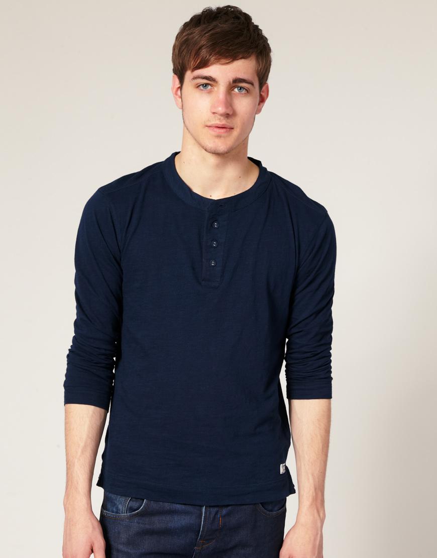 Мужская рубашка хенли с рукавами реглан, Selected
