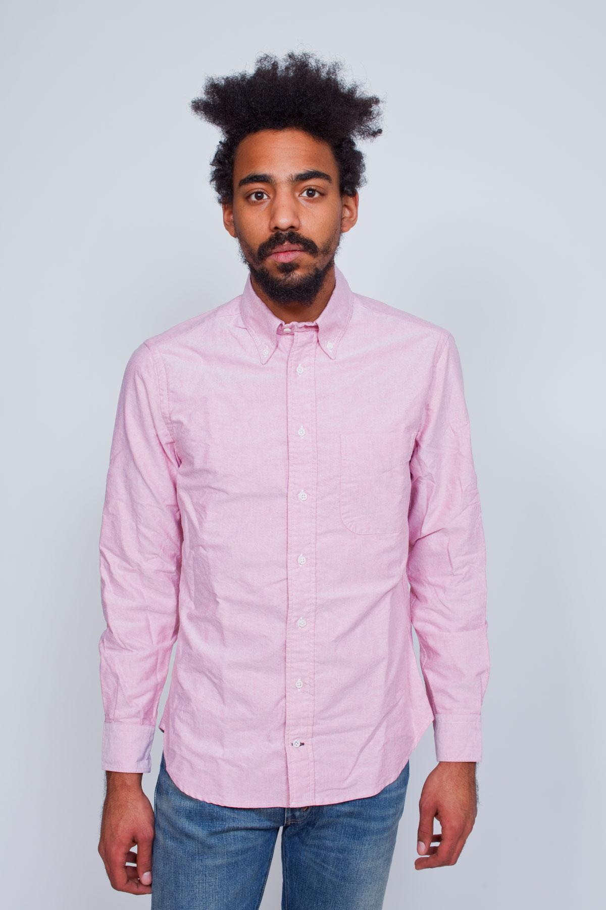 Классическая мужская оксфордская рубашка розовая, Gitman Vintage