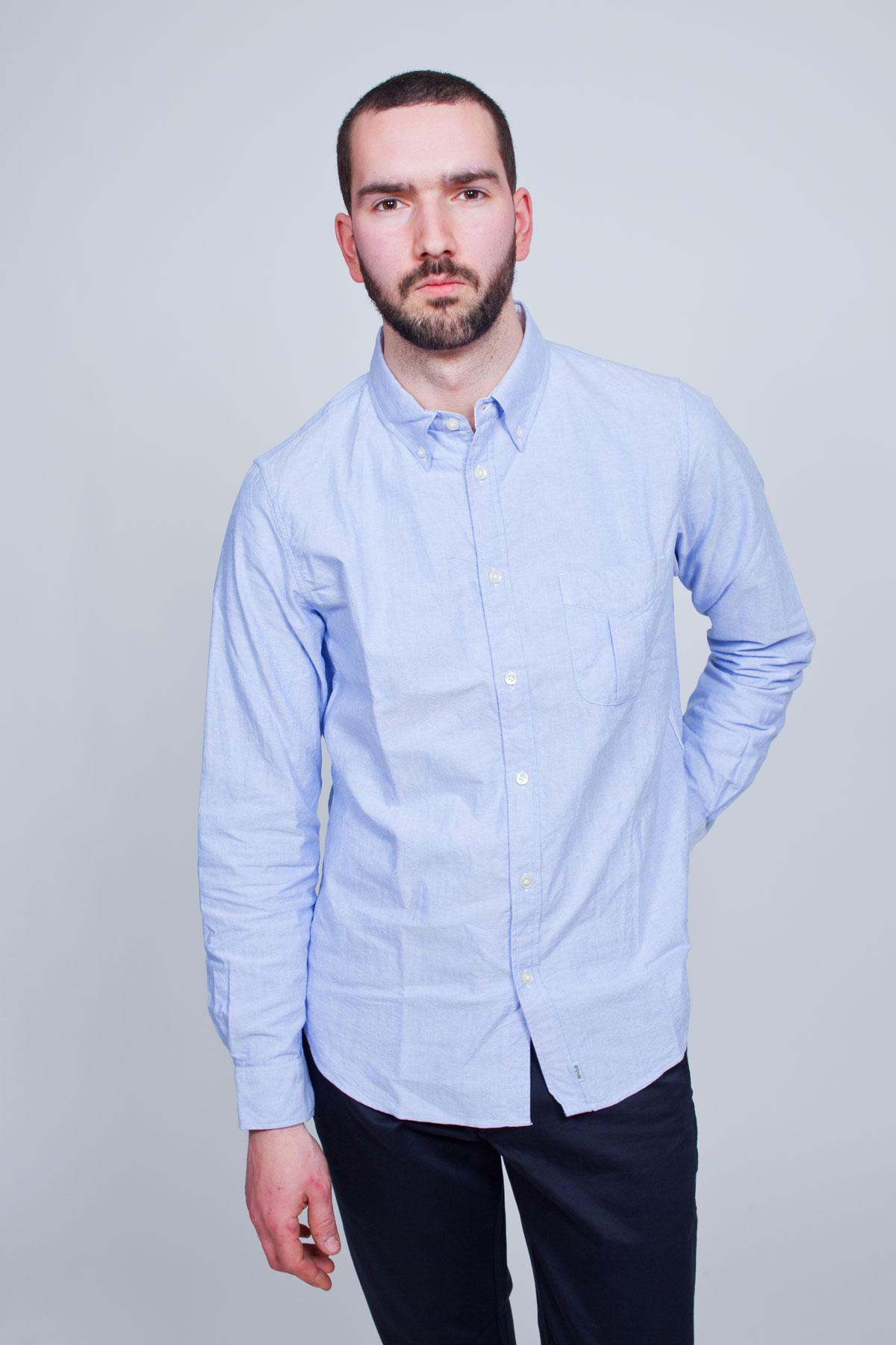 Мужская рубашка из голубой ткани оксфорд, Wings + Horns