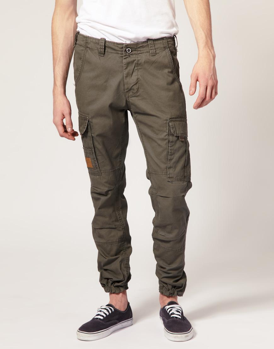 Мужские брюки-карго зауженные книзу с манжетами, Jack & Jones
