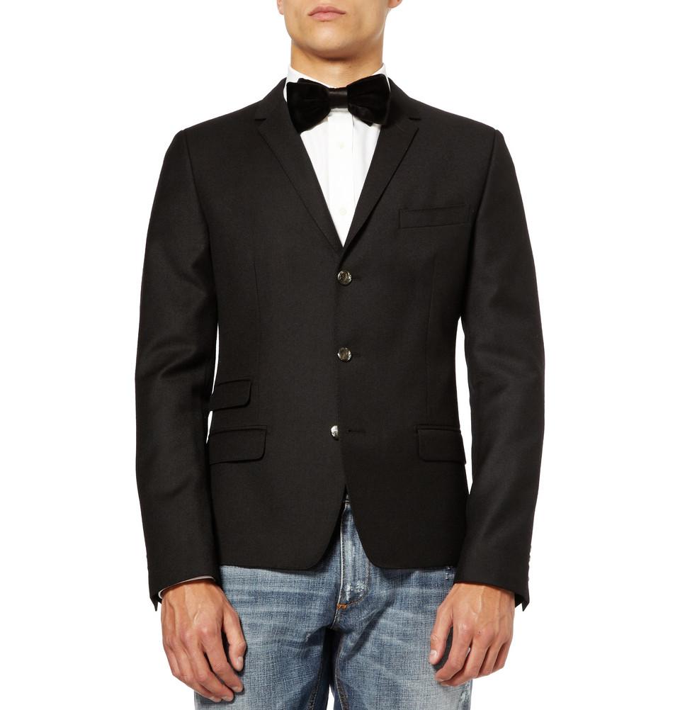 Мужской черный шерстяной пиджак на трех пуговицах, Dolce & Gabbana