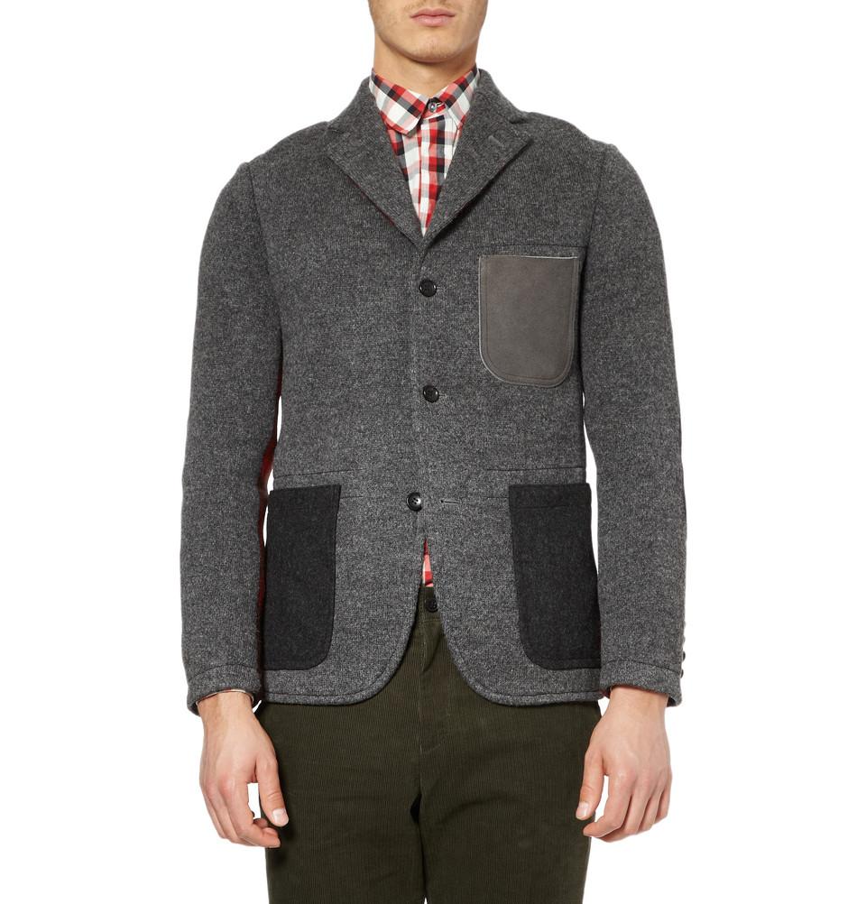 Мужской серый шерстяной пиджак на трех пуговицах, Junya Watanabe