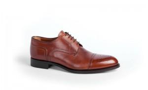 Мужские туфли с открытой шнуровкой дерби из кожи коньячного цвета, a.testoni
