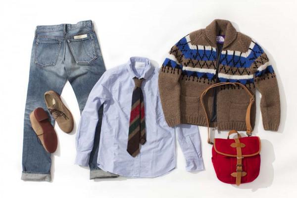 Рубашка nanamica, свитер The North Face, ботинки Mark McNairy