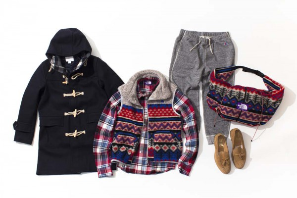 Дафлкот nanamica, рубашка, жилет и сумка The North Face Purple Label, лоферы Mark McNairy
