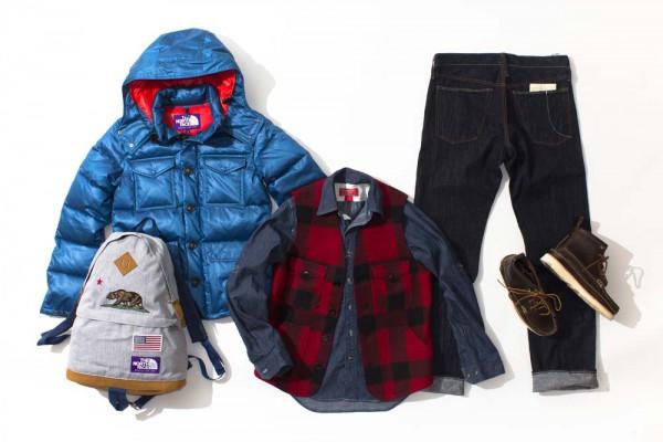 Пуховик и рюкзак The North Face Purple Label, рубашка и жилетка Filson Red Label, высокие ботинки Yuketen