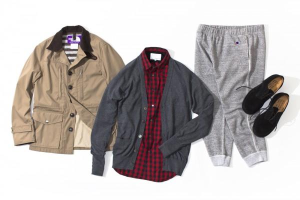 Клетчатая рубашка и кардиган nanamica, куртка The North Face Purple Label, серые спортивные брюки Champion