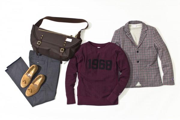 Блейзер в клетку и сумка-мессенджер nanamica, куртка The North Face Purple Label, свитер Champion, мокасины Mark McNairy