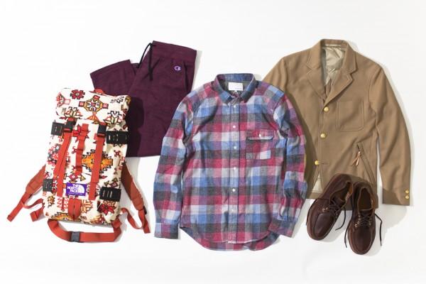 Блейзер цвета camel, клетчатая фланелевая рубашка, рюкзак из серой шерсти nanamica, спортивные брюки Champion, рюкзак The North Face Purple Label, ботинки Russel Moccasin