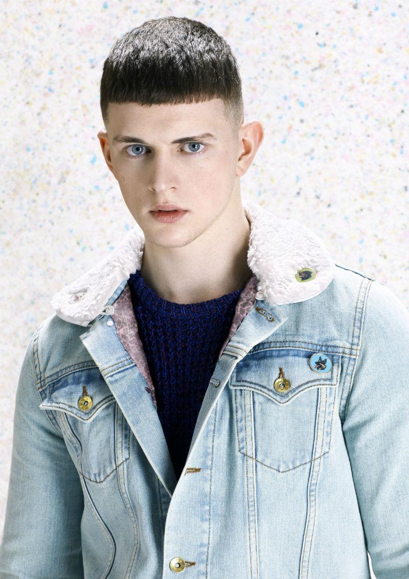 Мужская джинсовая куртка из стиранного денима с воротником из овчины, Katie Eary