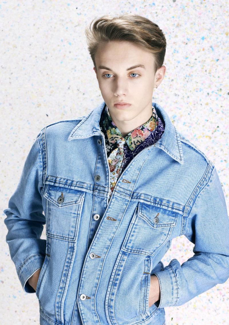 Мужская джинсовая куртка из потертого голубого денима, Lou Dalton
