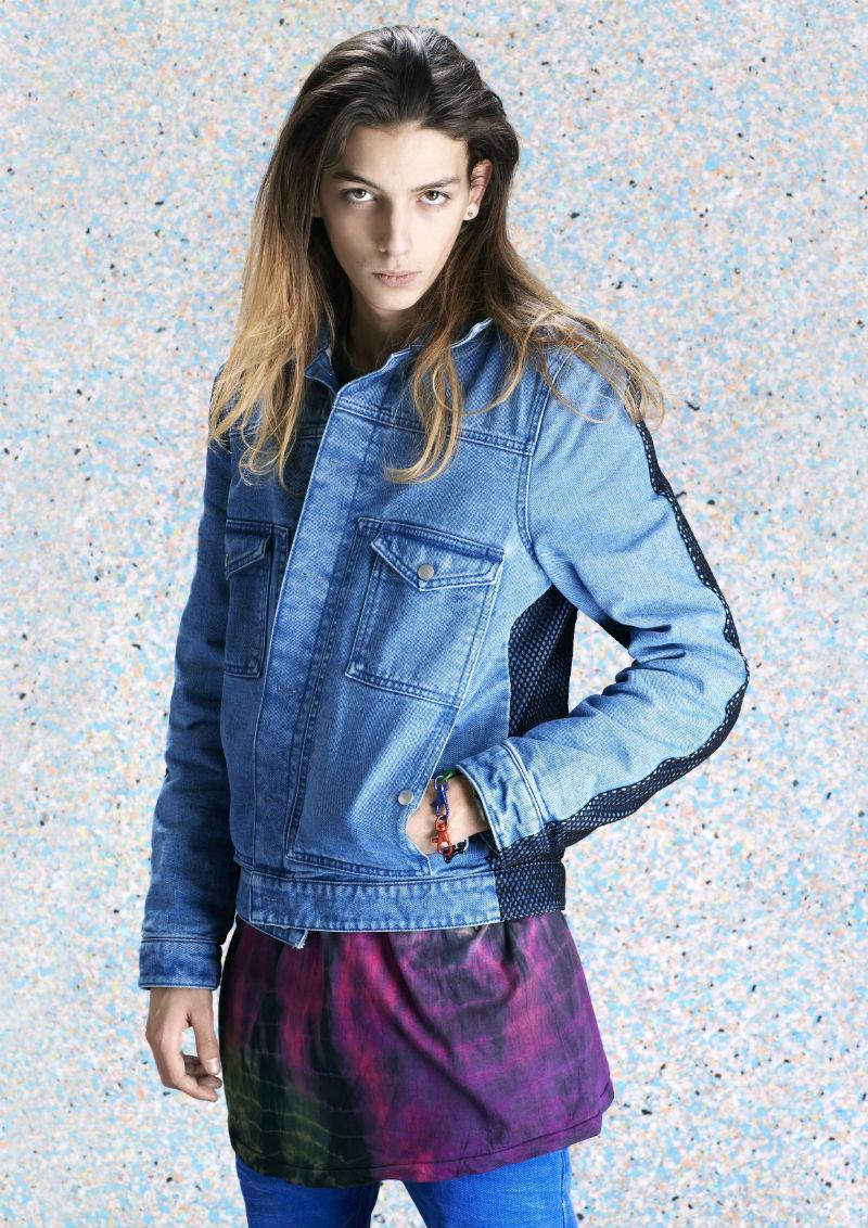 Мужская джинсовая куртка из вываренного денима синего цвета, Shaun Samson