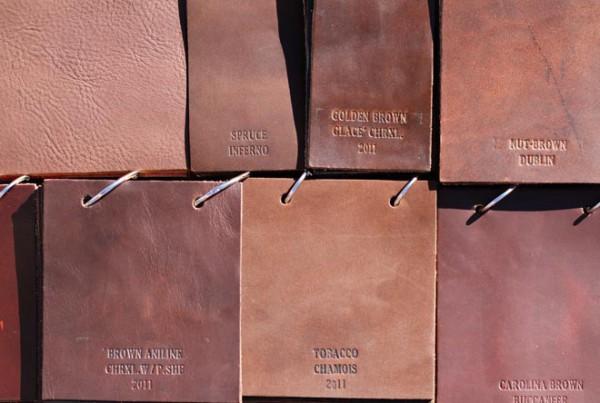 Образцы кожи коричневой палитры