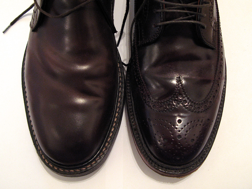 Ботинки из Shell Cordovan Comipel (Mogano Brown) и Horween (Color 8)