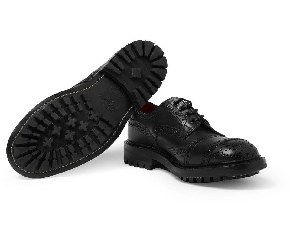Черные кожаные ботинки-броги Tricker's x Junya Watanabe на толстой подошве commando