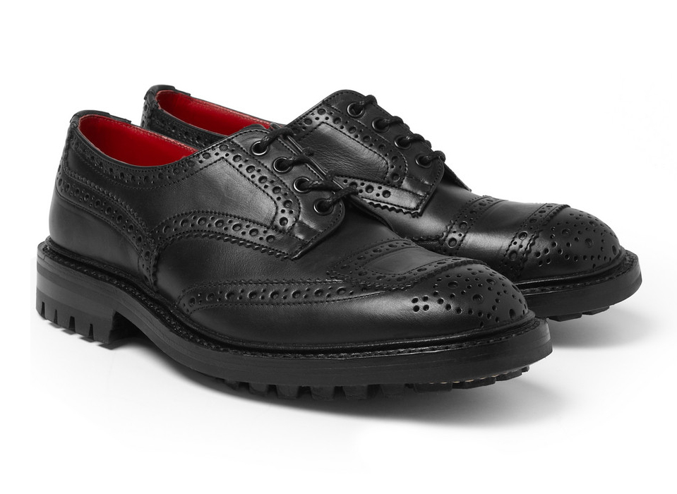 Черные кожаные ботинки-броги Tricker's x Junya Watanabe