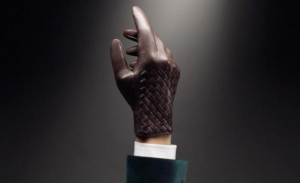 Кожаные мужские перчатки Bottega Veneta