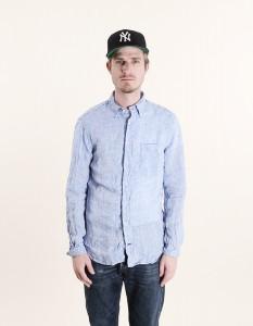 Мужская рубашка из французского льняного шамбре голубого цвета, Gitman Vintage