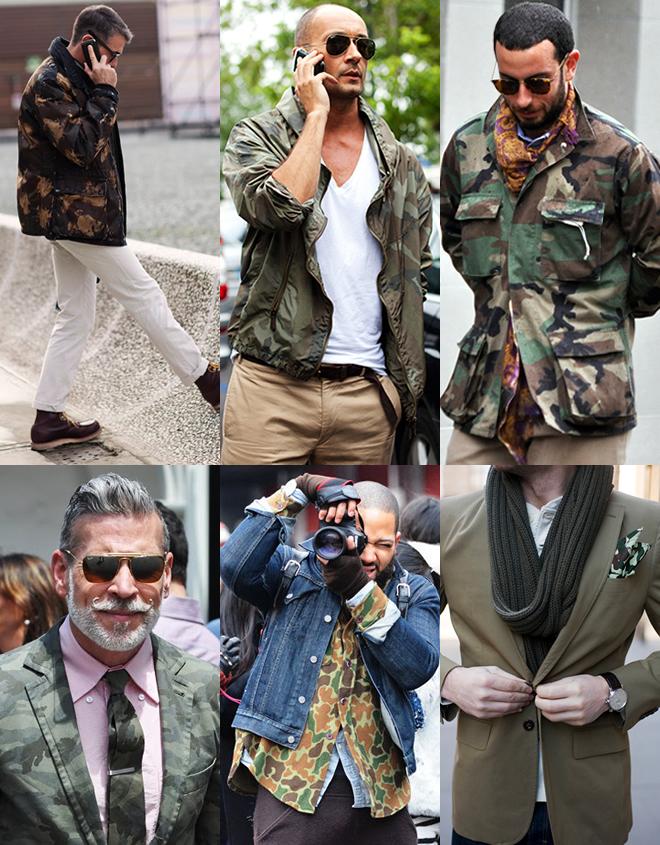 Мужчины в модной камуфляжной одежде