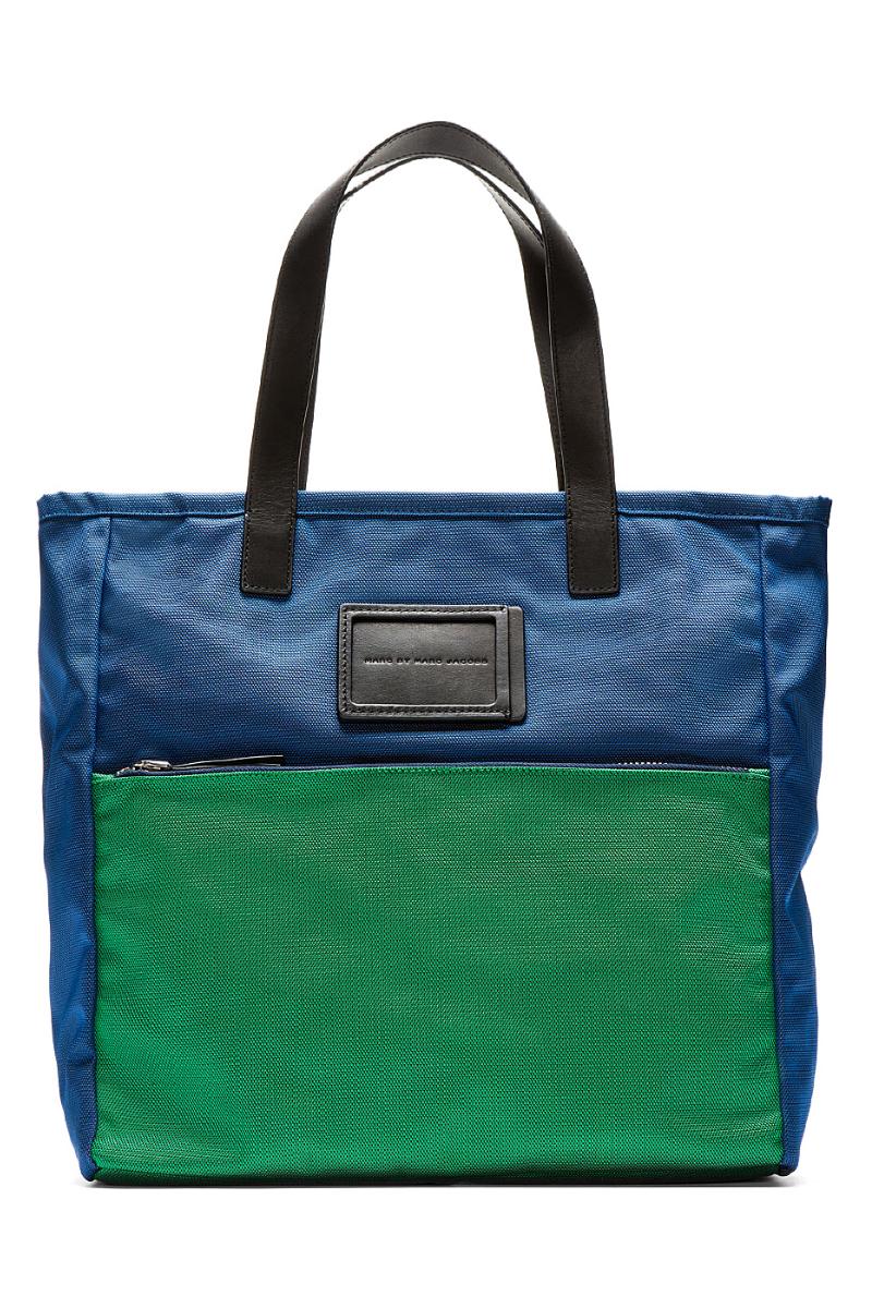 Простая пляжная сумка-тоут из сине-зелёного нейлона, Marc by Marc Jacobs