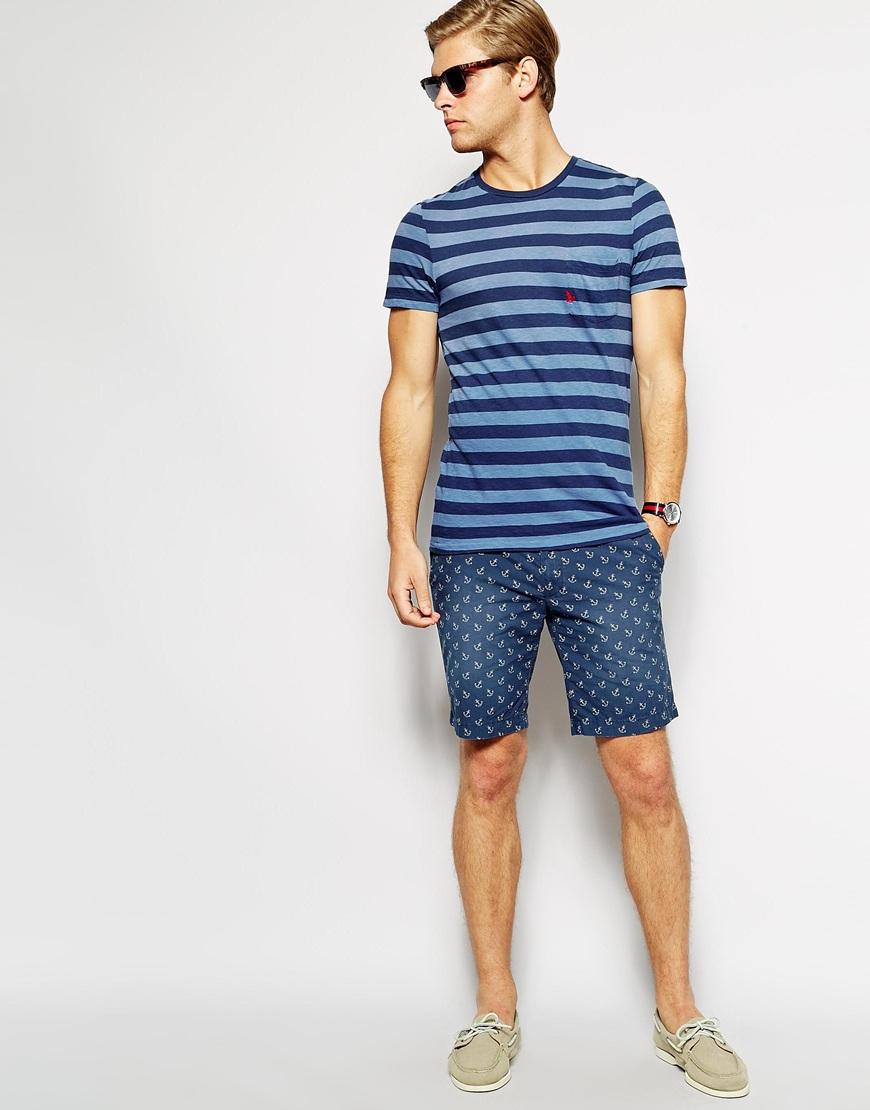 Мужчина синей полосатой футболке с круглым воротом, Polo Ralph Lauren