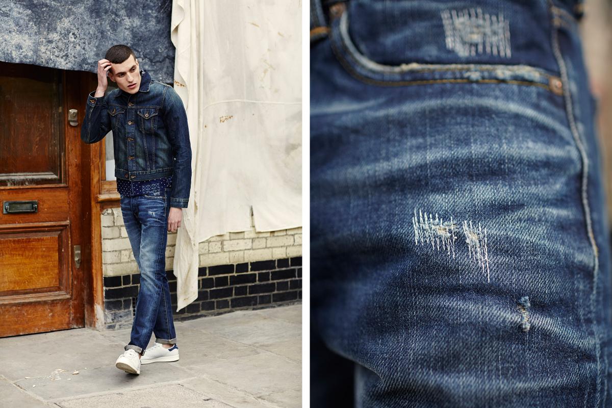 Мужчина в джинсах ED-80 63 Rainbow и джинсовке, Edwin