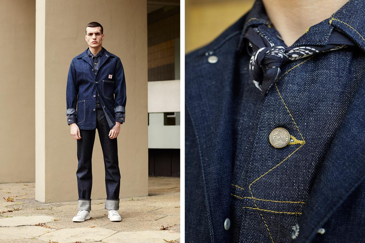 Мужчина в джинсах из сырого денима Rider 1952 101Z, джинсовке и инженерной куртке,  всё Lee