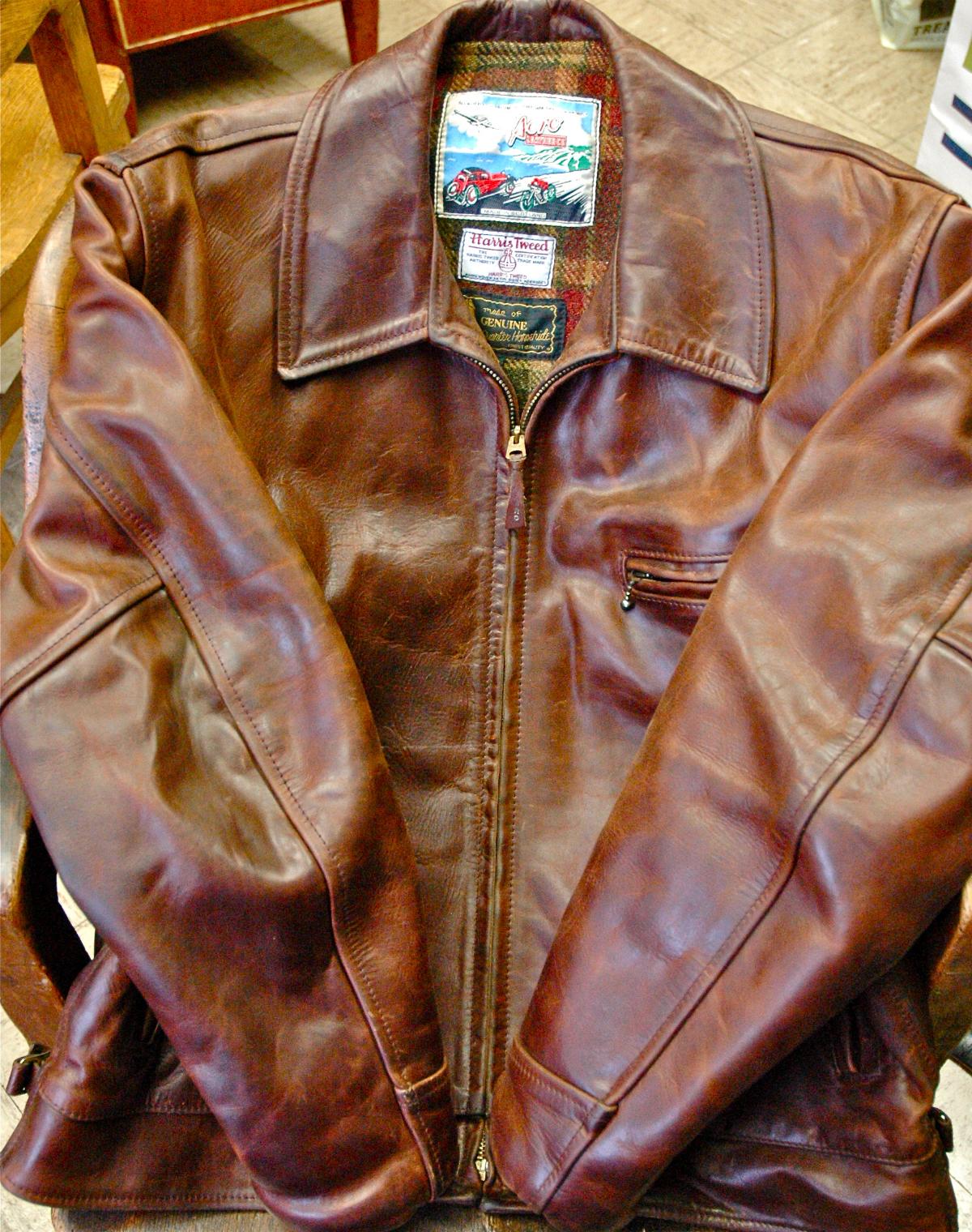Кожаная куртка Aero Horween Horsehide Chromexcel с подкладкой из шерсти Harris Tweed, коричневая