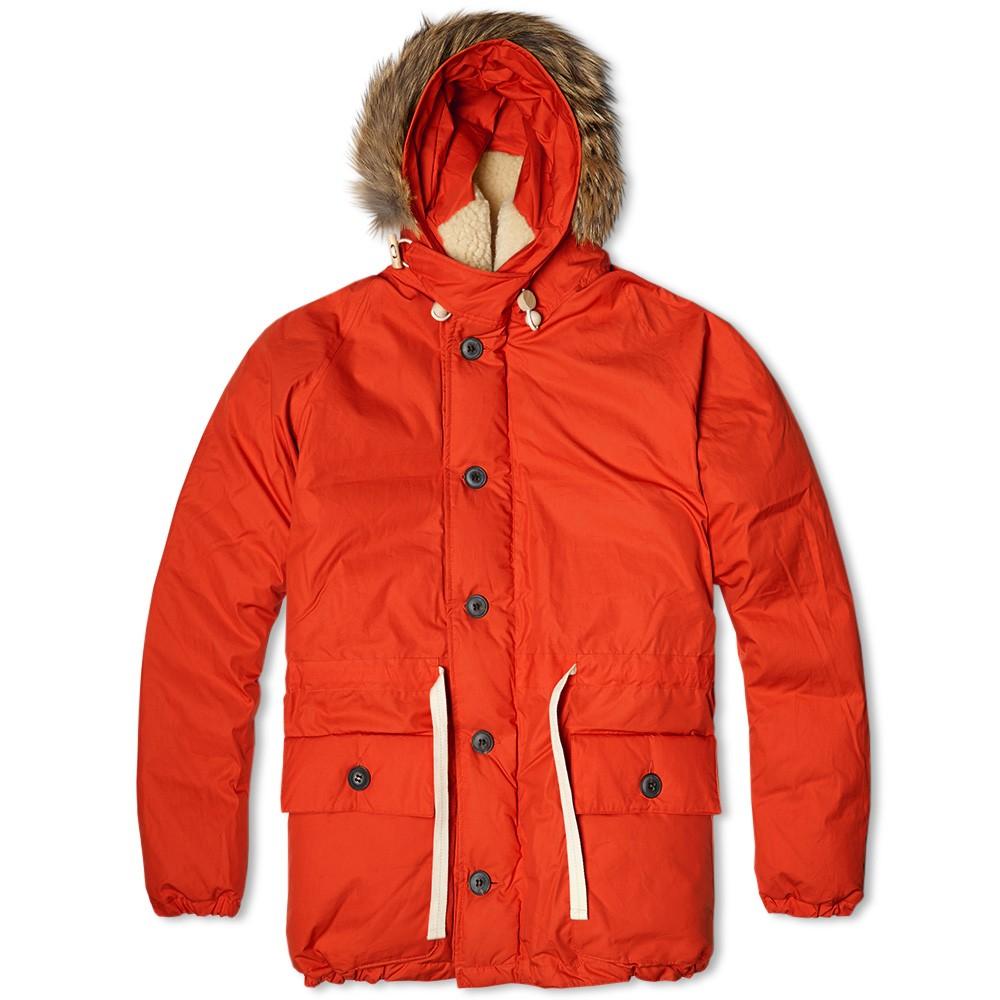 Яркий оранжевый мужской пуховик аляска Nigel Cabourn Everest Parka