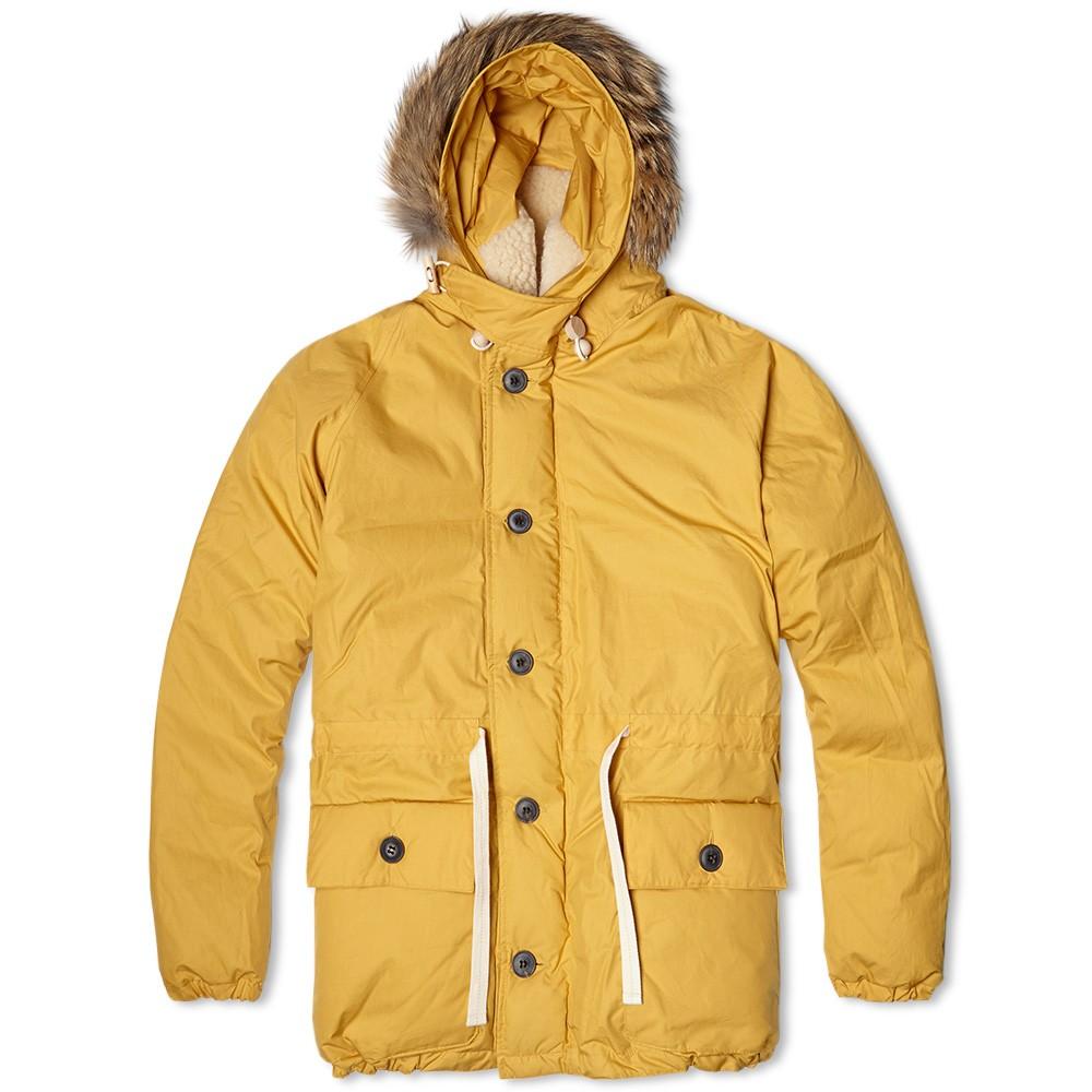 Теплый пухан с капюшоном Nigel Cabourn Everest Parka жёлтый