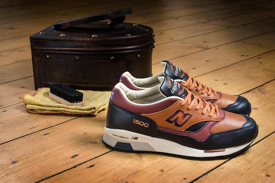 Английские кроссовки New Balance M1500GMN классических цветов тан-бордовый-синий