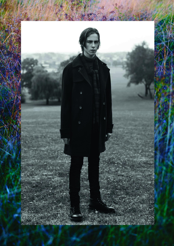 Черное двубортное пальто с рукавом реглан, Topman
