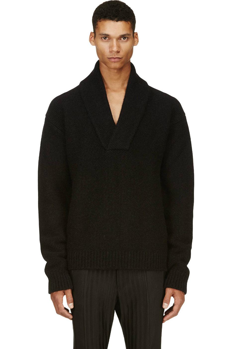 Мужской черный зимний свитер из шерсти с воротником-шалью, Maison Martin Margiela