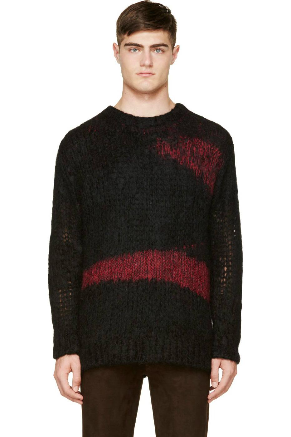 Мужской черно-красный свитер крупной вязки Junya Watanabe