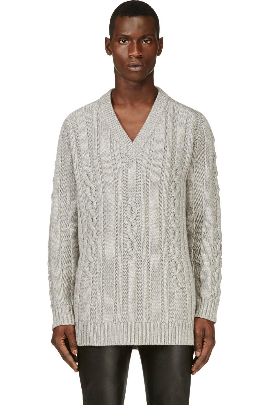 Мужской серый зимний свитер с косами крупной вязки, Maison Martin Margiela