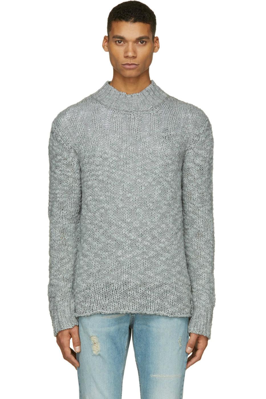 Мужской серый шерстяной зимний свитер удлиненным воротом крупной вязки, McQ Alexander Mcqueen