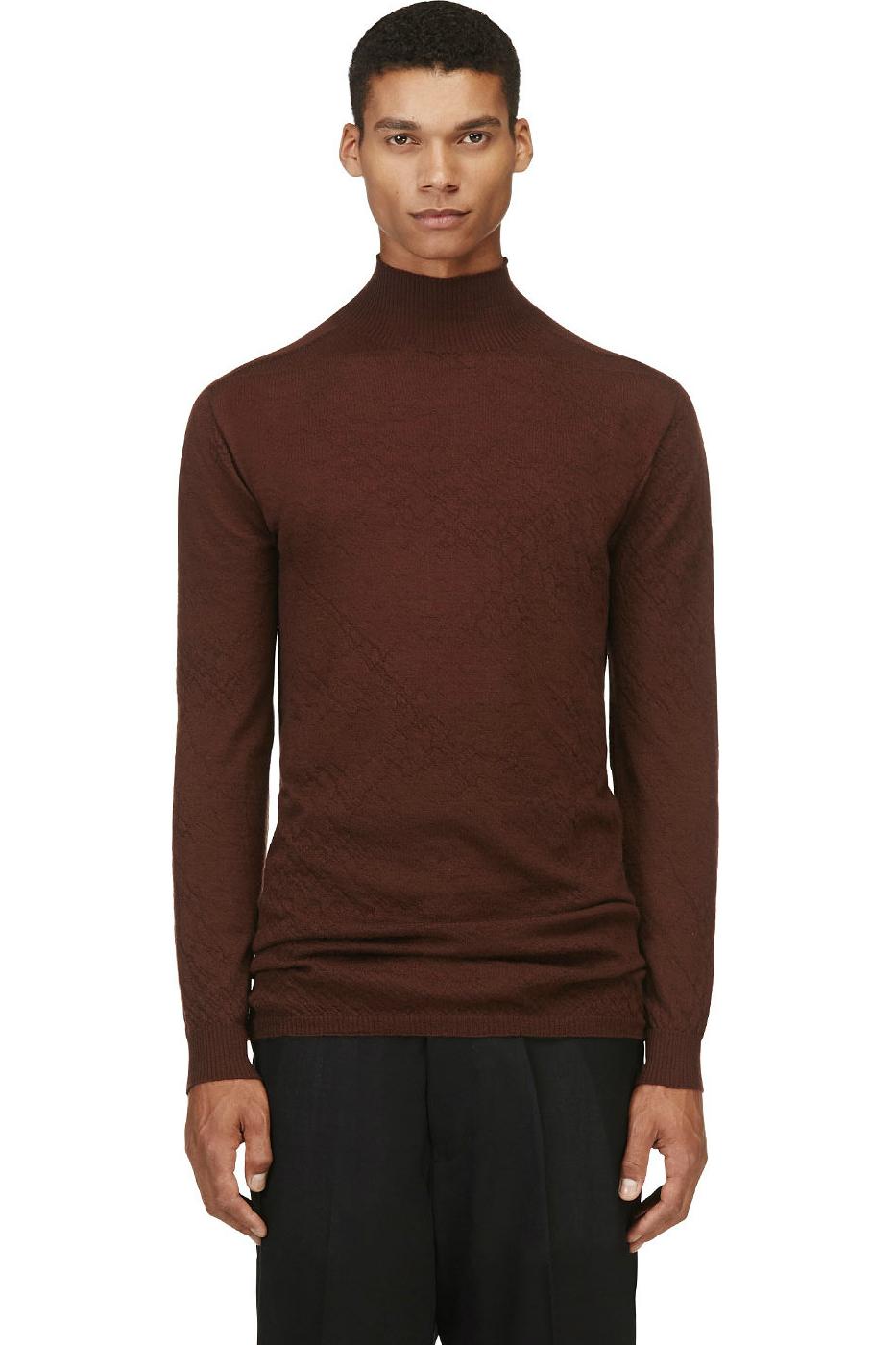 Мужской свитер из тонкой шерсти с удлиненным воротом темно-бордовый, Rick Owens