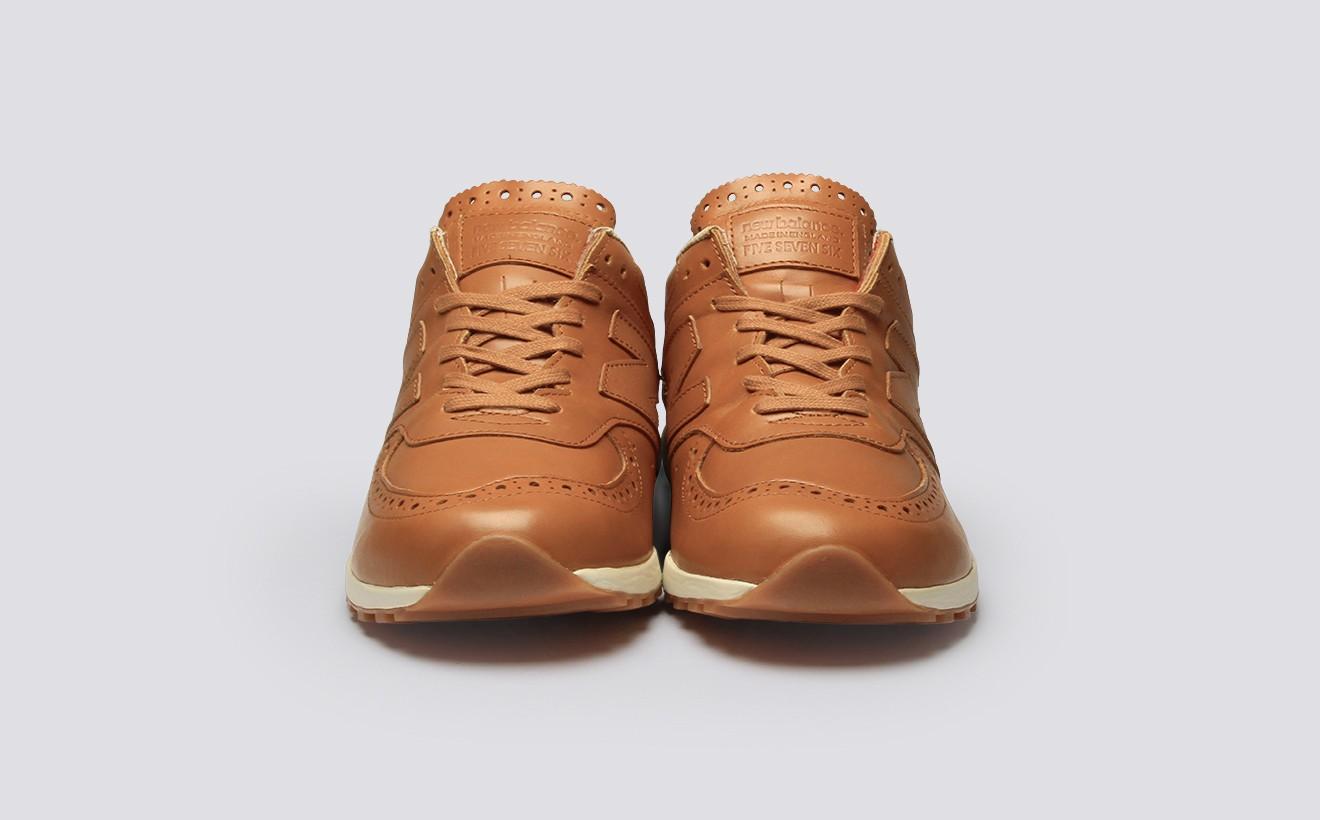 Кожаные кроссовки New Balance NB576 x Grenson с патчем Made in England на язычке