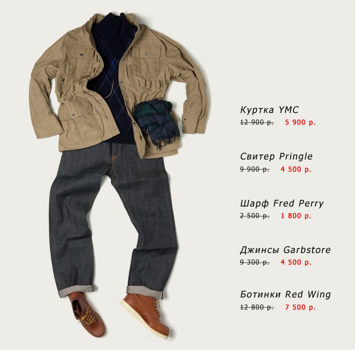 Куртка, YMC; свитер, Pringle; шарф, Fred Perry; джинсы, Garbstore; ботинки, Red Wing Shoes