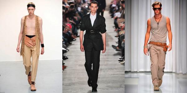 Широкий ремень с тремя пряжками, Ann Demeulemeester; ремень в два оборота, Raf Simons; кожаный ремень и пояс, Versace