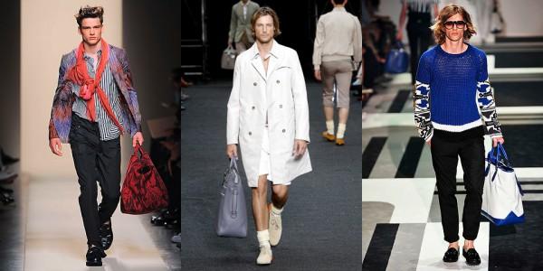 Красная сумка с принтом, Bottega Veneta; большая кожаная сумка, Louis Vuitton; сине-белая сумка, Gucci