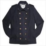 Синяя двубортная куртка-пиджак с золотистыми поговицами в стиле милитари от Topman