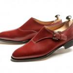 Вишневые туфли-монки с одной застежкой, John Lobb