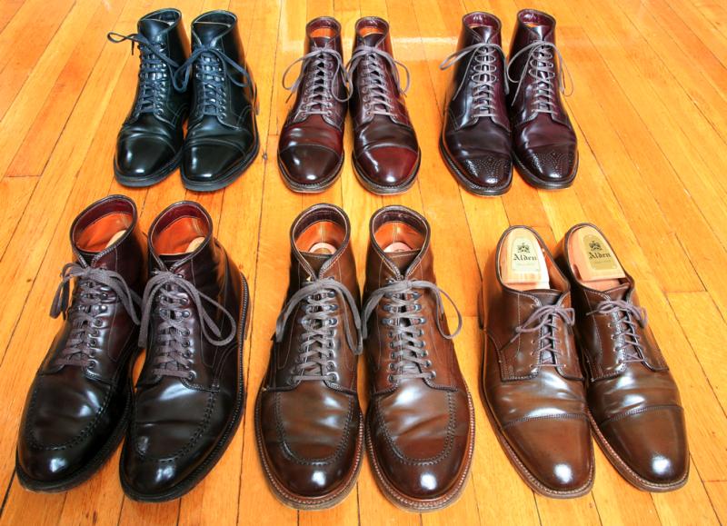 6 пар мужских ботинок Alden Shell Cordovan