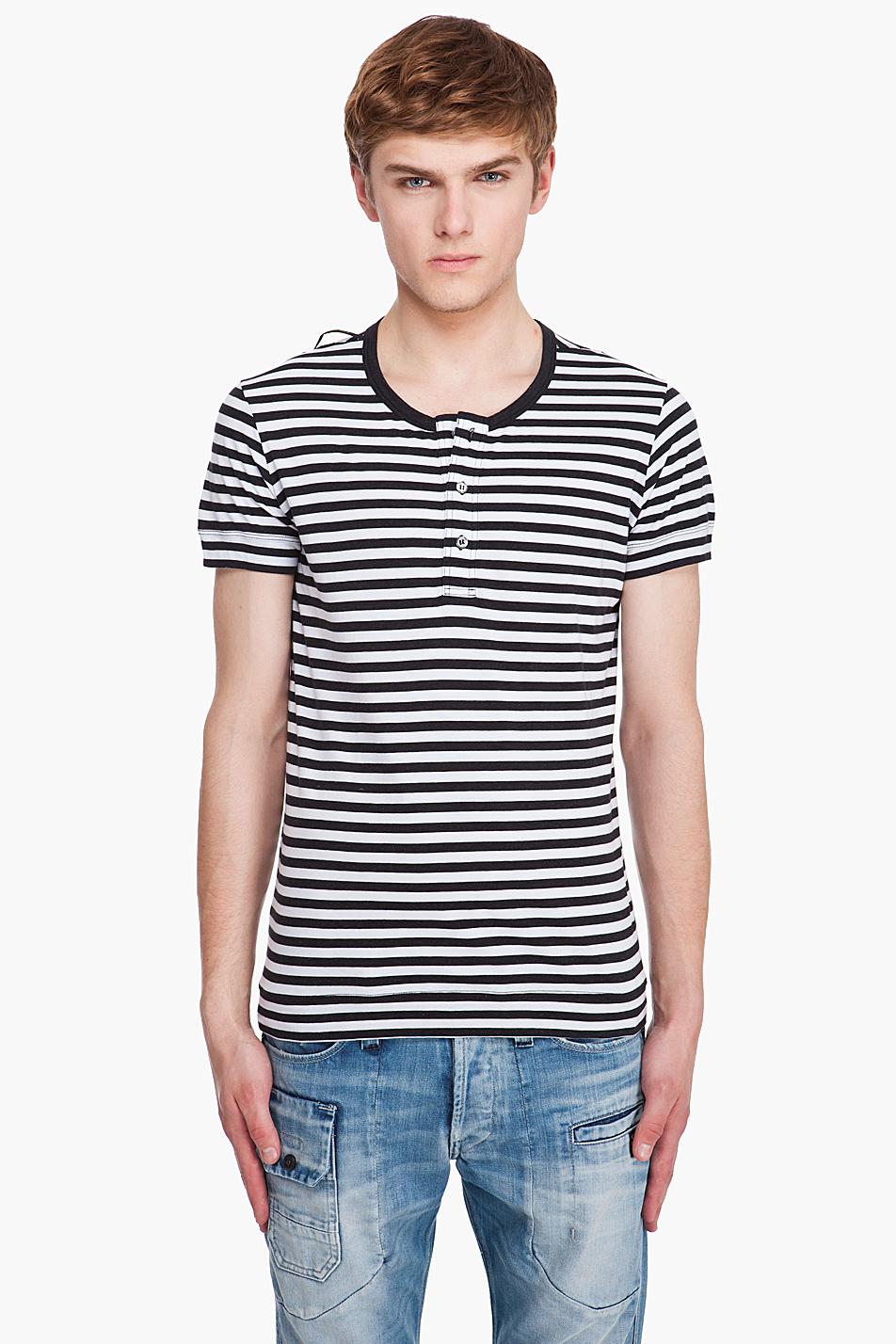 Мужская рубашка хенли в горизонтальную полоску, Diesel Black Gold