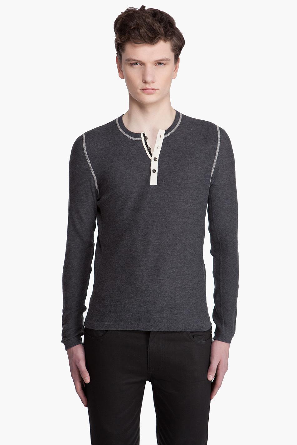 Черная рубашка хенли с длинным рукавом, Rag & Bone