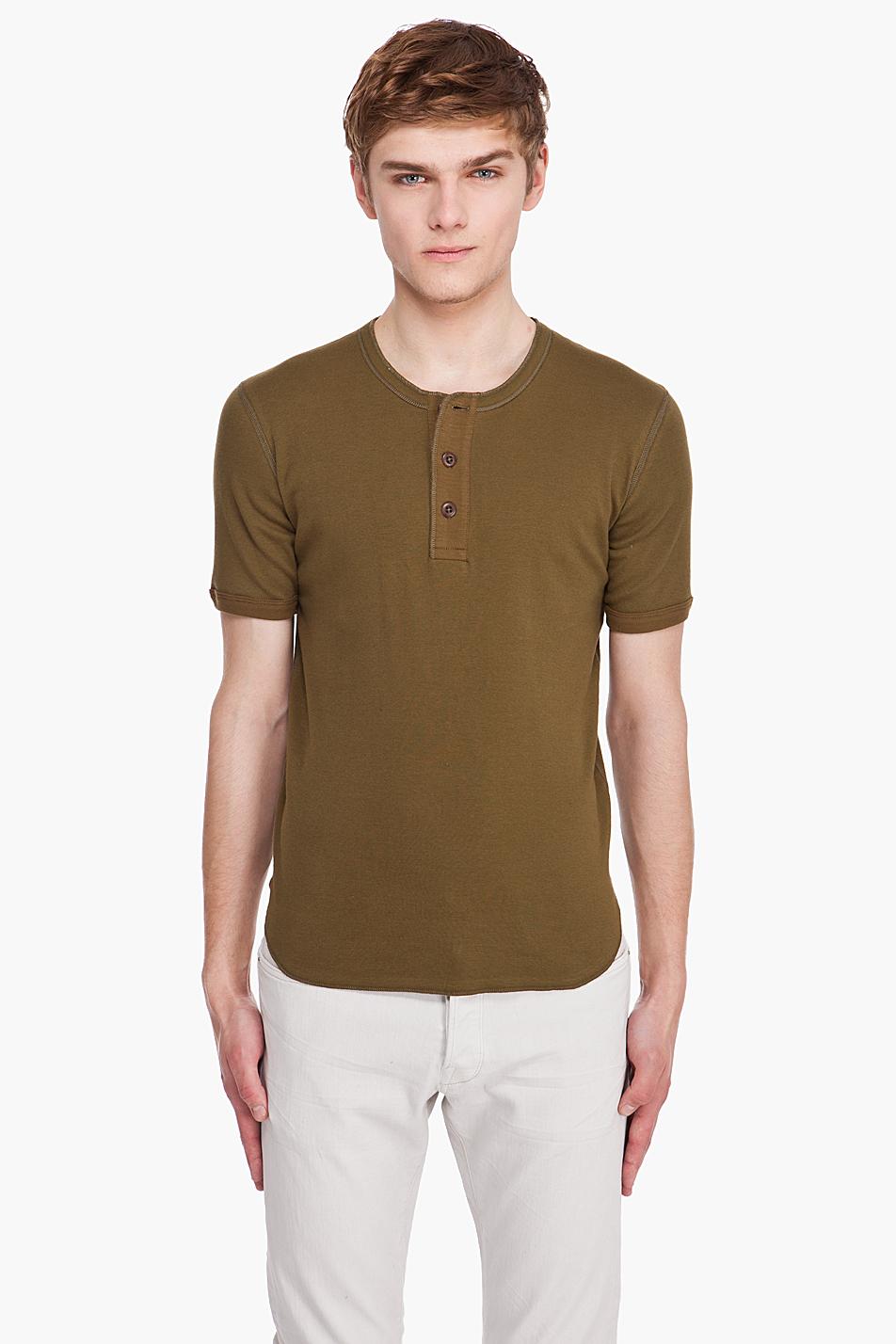 Рубашка хенли оливкового цвета с коротким рукавом, Wing & Horns