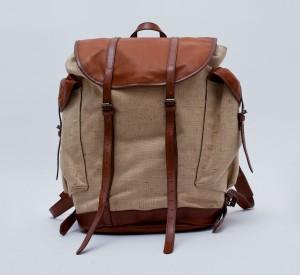 Мужской рюкзак из канваса с кожаными ремешками, Dries Van Noten
