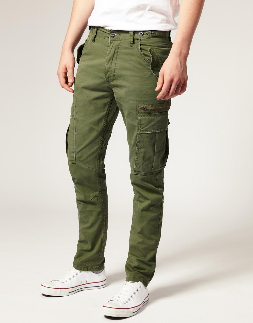 Мужские брюки-карго цвета хаки, Selected